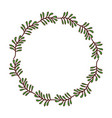 green wreath branch floral decoration nature vector image