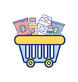 shopping basket with delicious products to buy vector image