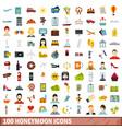 100 honeymoon icons set flat style vector image