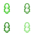 Set of paper stickers on white background girl in vector image