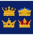 Golden crown of emperor icon or monarch tiara vector image