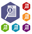magnifying glass over curriculum vita icons set vector image