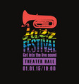 poster for the jazz festival colored text vector image vector image