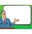 Boss business man speaking at podium lecture or vector image