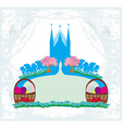 abstract card church and Easter eggs vector image