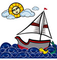 boats in the sea with mermaid vector image