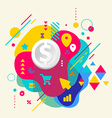 Dollar on abstract colorful spotted background vector image