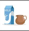 carton of milk and clay jug vector image