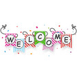 welcome sign banner with bunting flags vector image