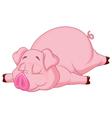 Cute pig cartoon sleeping vector image