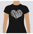 Black and white heart on a t-shirt template vector image