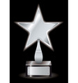 metal silver star award with space for your own te vector image vector image