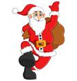 santa waving and holding sack vector image