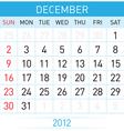 december calendar vector image vector image