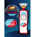 Auto repairs and gas pump vector image