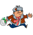 Cartoon man toper in winter clothes running vector image