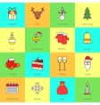 Christmas icons set flat line vector image
