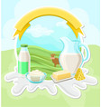 dairy farm products rural landscape with cow vector image