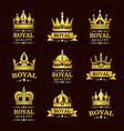 golden royal quality crown logo templates vector image