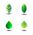 Green leaf icon set vector image