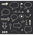 Hand drawn arrows speech bubble sketch set vector image