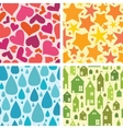 Set of four colorful seamless patterns background vector image