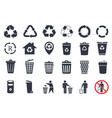 trash icons and recycle signs vector image