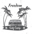 Surf camp concept Summer surfing retro badge vector image