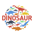 Dinosaurs symbols in the shape of circle vector image