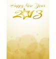 Happy new year 2013 card with gold star vector image vector image