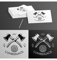 Lumberjack Logo Symbol Hatchet Axe Wood Rings Cut vector image