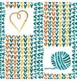 Knitted pattern with needles and yarn vector image