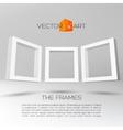 Three white rectangular 3D frames vector image