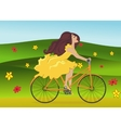 Girl is riding bike on flowering spring field vector image