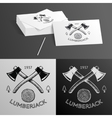 Lumberjack Logo Symbol Hatchet Axe Wood Rings Cut vector image