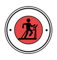 pictogram circular frame with man in treadmill vector image