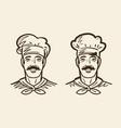 portrait of happy chef cook sketch vintage vector image