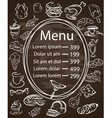 Seamless Food Menu Written on Chalkboard with vector image