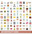 100 hospitality icons set flat style vector image