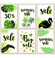 Set of summer tropical glitter green cards vector image vector image