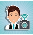 man camera photography wifi vector image