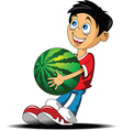Boy with a watermelon vector image vector image