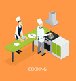 isometric restaurant people cooking template vector image