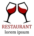 restaurant icon for menu background with two glass vector image vector image