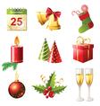 glossy christmas icons set vector image