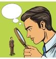 Man looking through magnifier on man pop art vector image