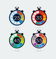 timer icons with color gradation vector image