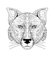 Fox head front drawing vector image