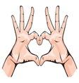 ruka srce bojaG resize vector image