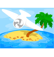 airplane over a tropical island vector image